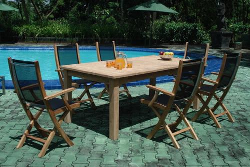 tbm03 monica folding arm chair rectangular table set indoor